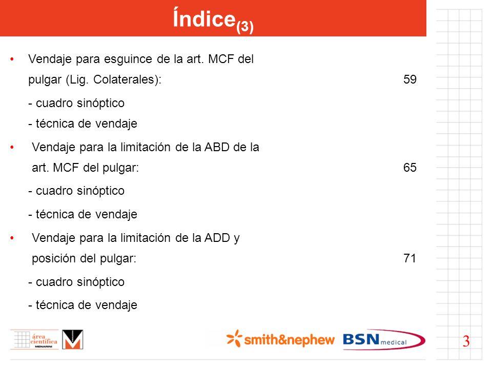 Índice(3) Vendaje para esguince de la art. MCF del pulgar (Lig. Colaterales): 59. - cuadro sinóptico - técnica de vendaje.