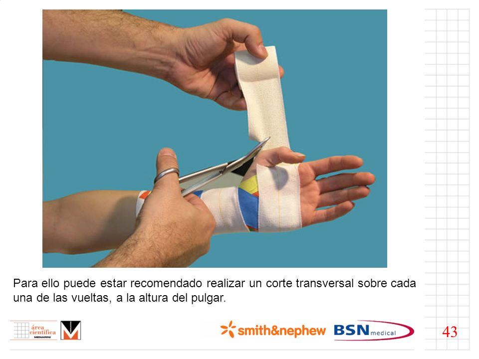 Para ello puede estar recomendado realizar un corte transversal sobre cada una de las vueltas, a la altura del pulgar.