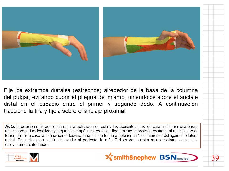 Fije los extremos dístales (estrechos) alrededor de la base de la columna del pulgar, evitando cubrir el pliegue del mismo, uniéndolos sobre el anclaje distal en el espacio entre el primer y segundo dedo. A continuación traccione la tira y fíjela sobre el anclaje proximal.