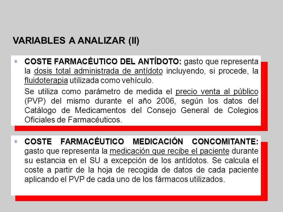 VARIABLES A ANALIZAR (II)