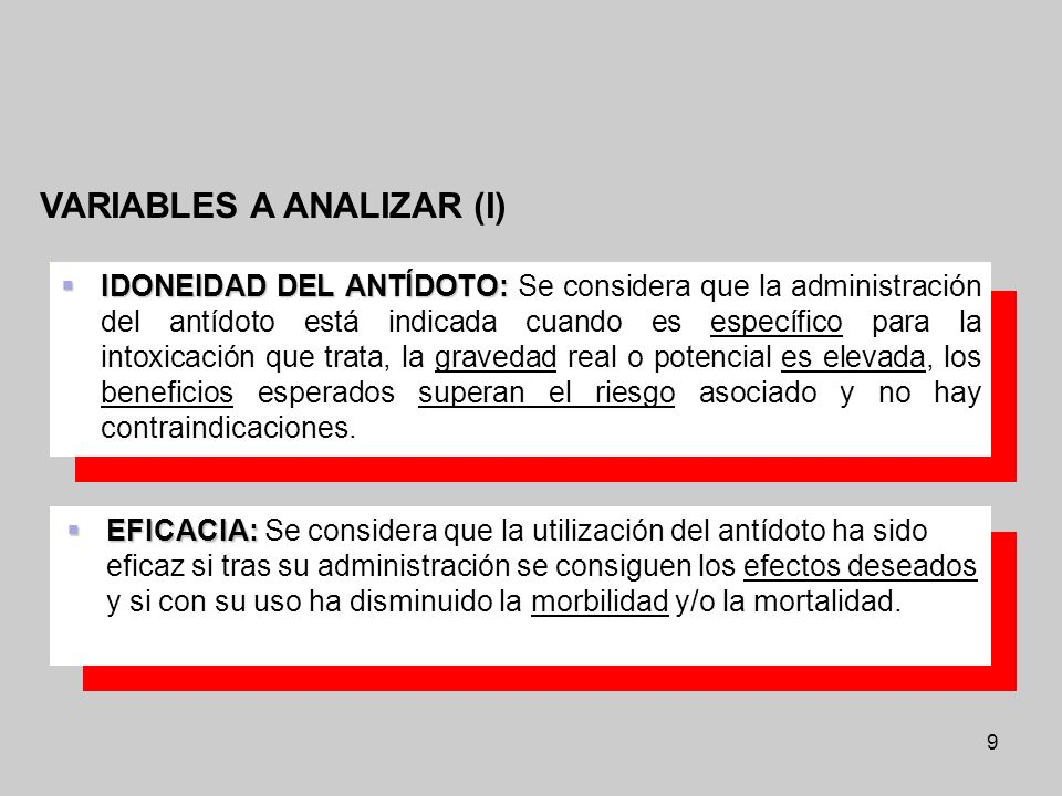 VARIABLES A ANALIZAR (I)