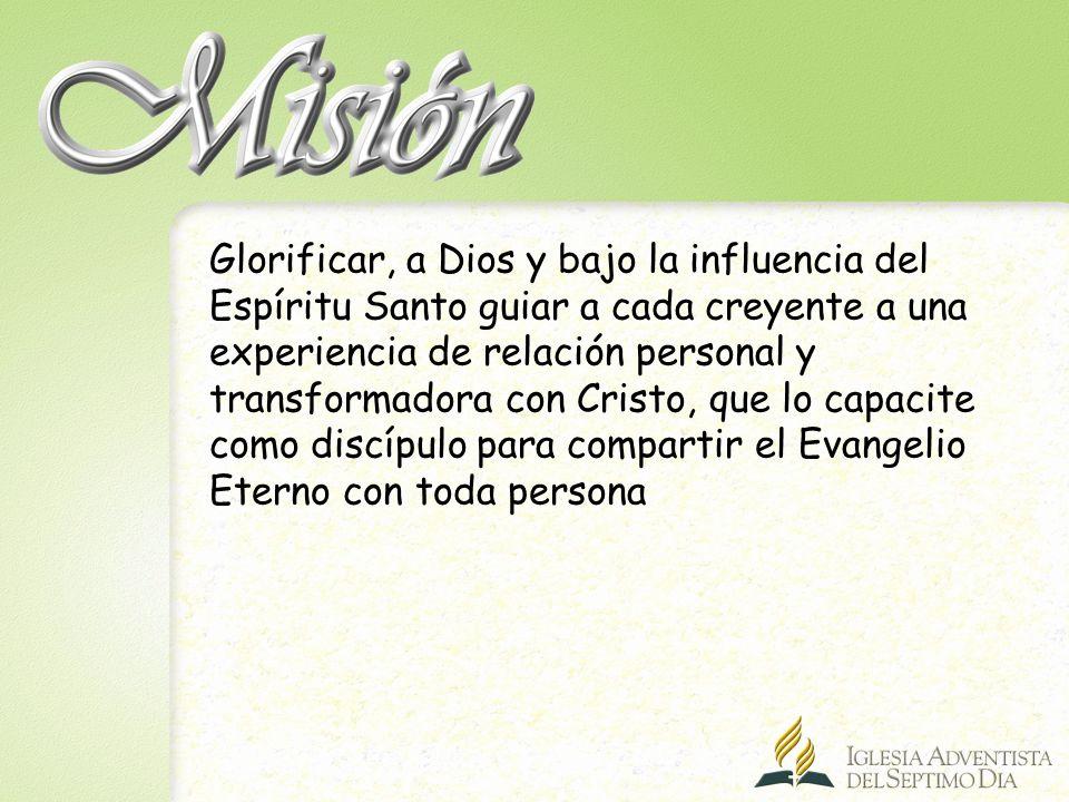 Glorificar, a Dios y bajo la influencia del Espíritu Santo guiar a cada creyente a una experiencia de relación personal y transformadora con Cristo, que lo capacite como discípulo para compartir el Evangelio Eterno con toda persona