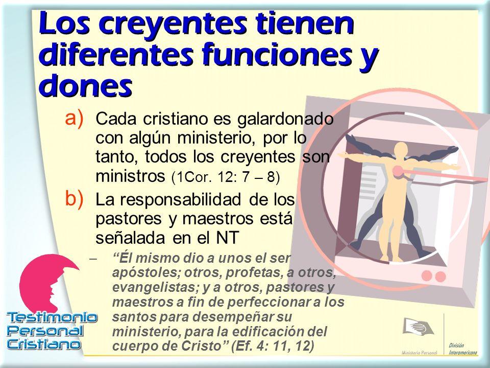Los creyentes tienen diferentes funciones y dones
