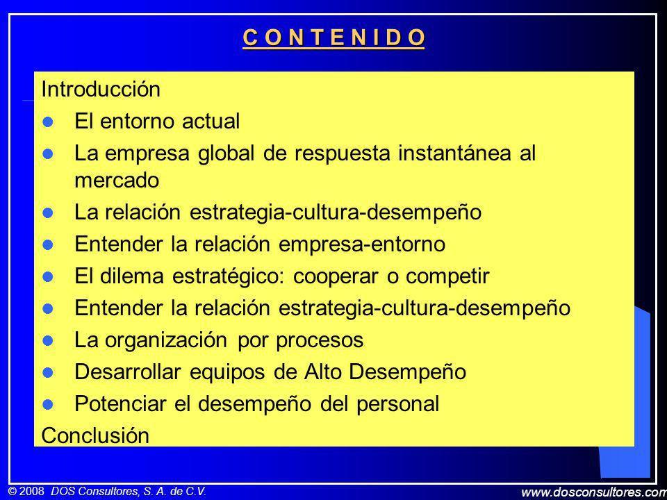 C O N T E N I D O Introducción. El entorno actual. La empresa global de respuesta instantánea al mercado.