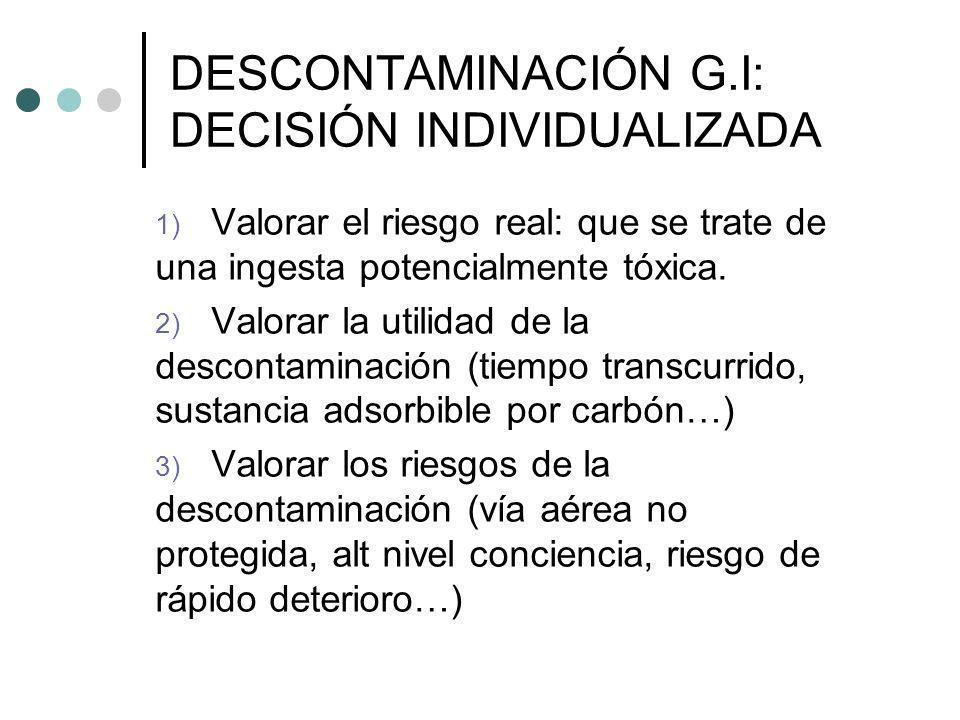 DESCONTAMINACIÓN G.I: DECISIÓN INDIVIDUALIZADA