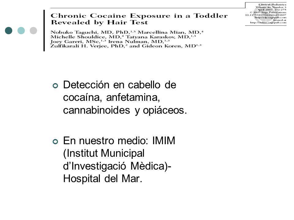 Detección en cabello de cocaína, anfetamina, cannabinoides y opiáceos.