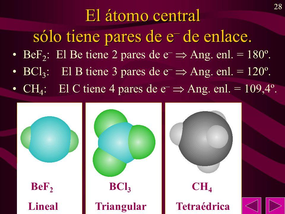 El átomo central sólo tiene pares de e– de enlace.