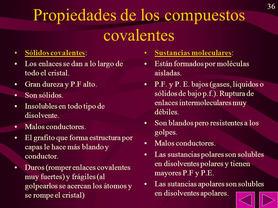 Propiedades de los compuestos covalentes