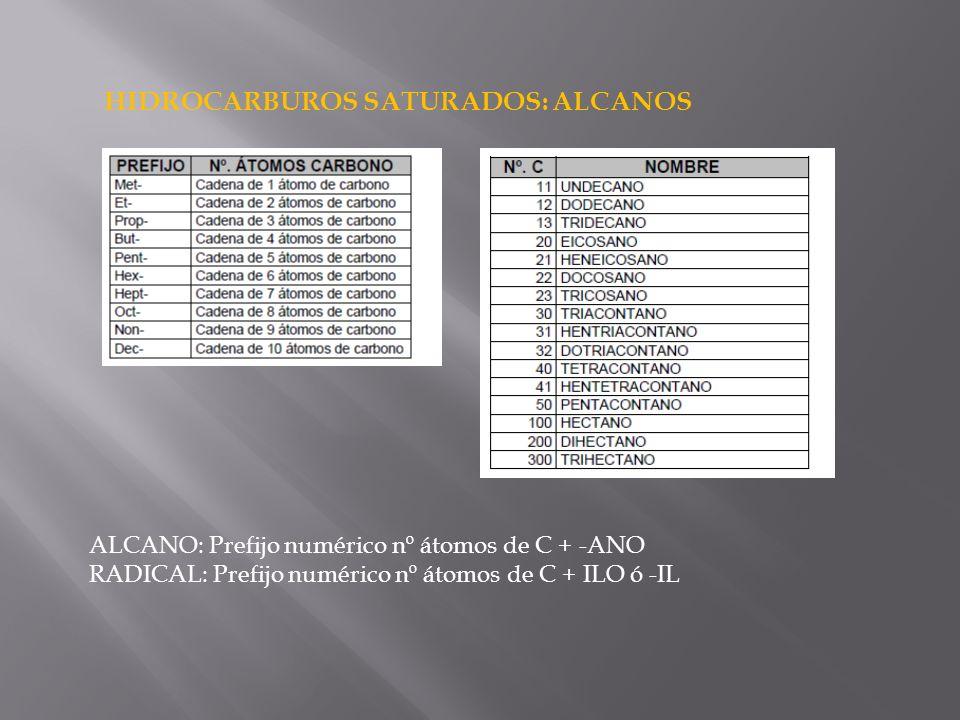 HIDROCARBUROS SATURADOS: ALCANOS