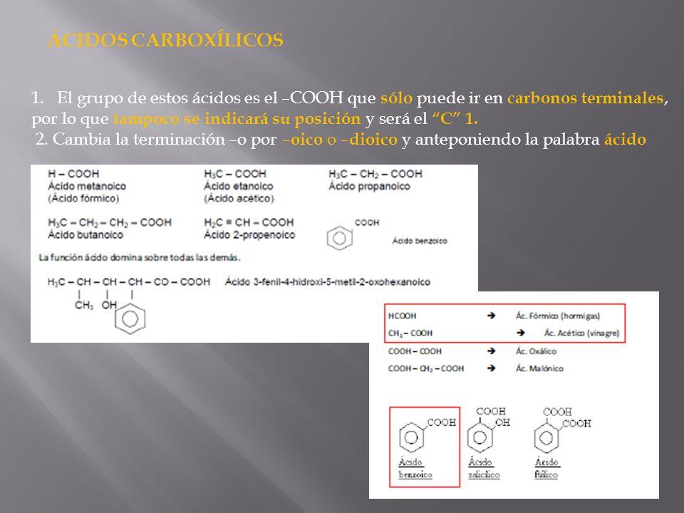 ÁCIDOS CARBOXÍLICOS El grupo de estos ácidos es el –COOH que sólo puede ir en carbonos terminales,