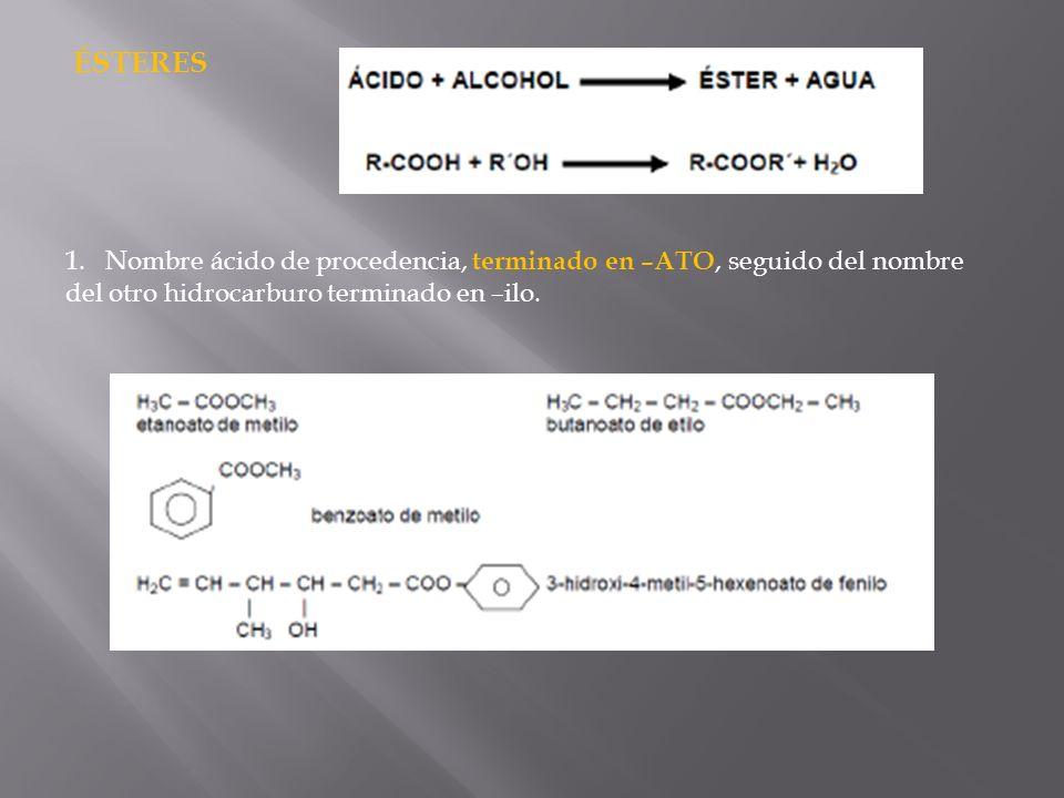ÉSTERES Nombre ácido de procedencia, terminado en –ATO, seguido del nombre.