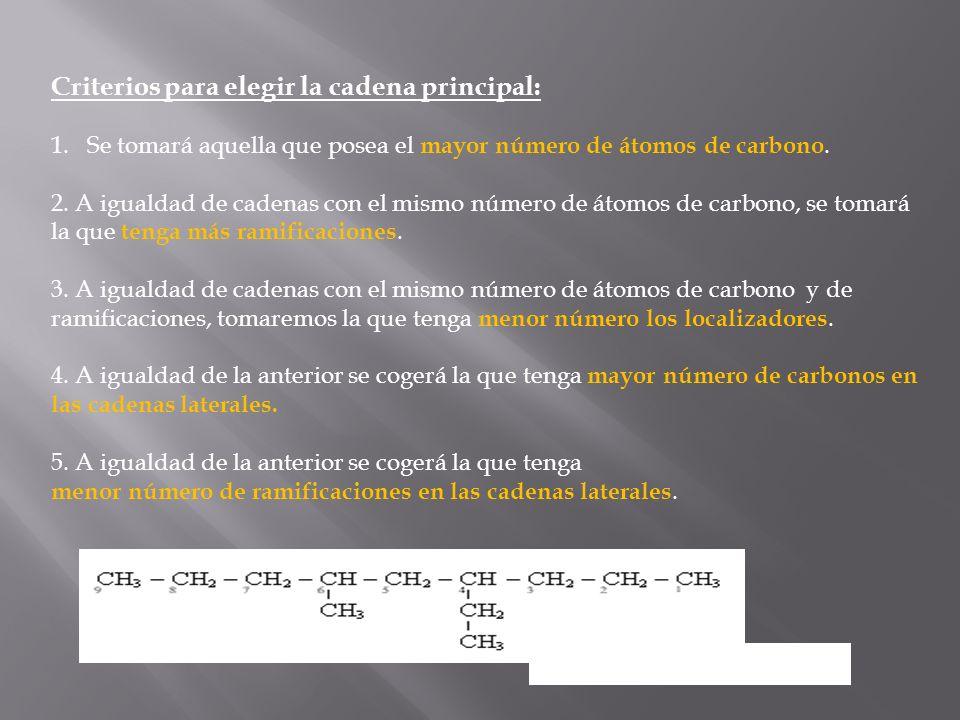 Criterios para elegir la cadena principal: