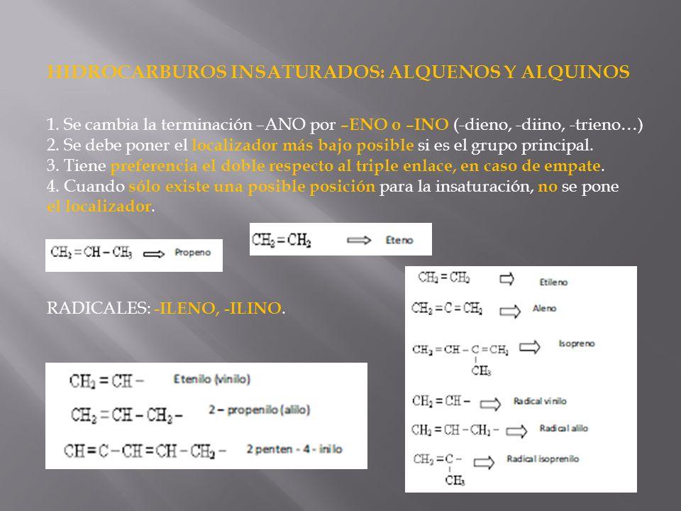 HIDROCARBUROS INSATURADOS: ALQUENOS Y ALQUINOS