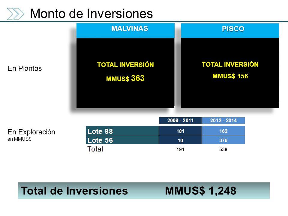 Monto de Inversiones Total de Inversiones MMUS$ 1,248 MALVINAS PISCO