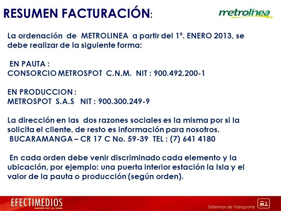 RESUMEN FACTURACIÓN: La ordenación de METROLINEA a partir del 1º. ENERO 2013, se debe realizar de la siguiente forma: