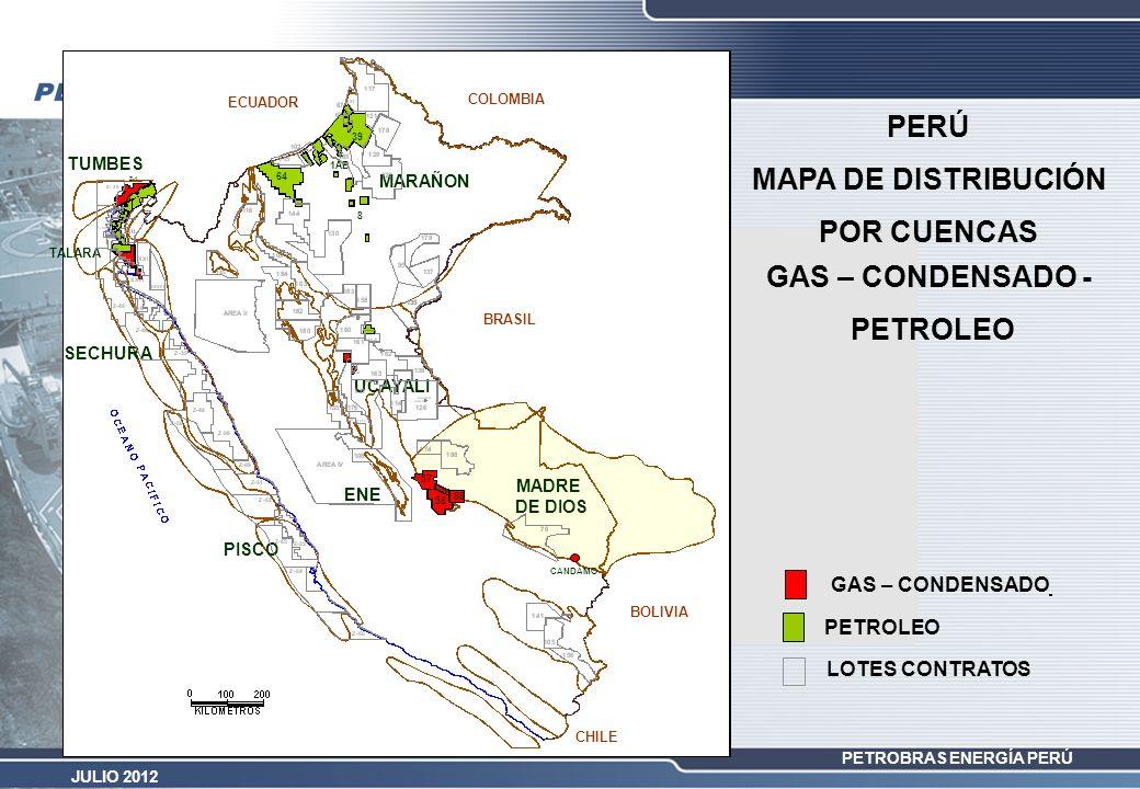 PERÚ MAPA DE DISTRIBUCIÓN POR CUENCAS GAS – CONDENSADO - PETROLEO