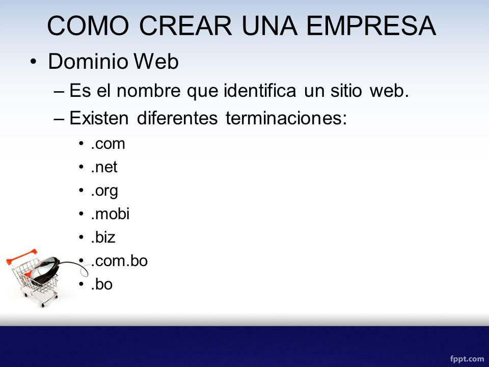 COMO CREAR UNA EMPRESA Dominio Web