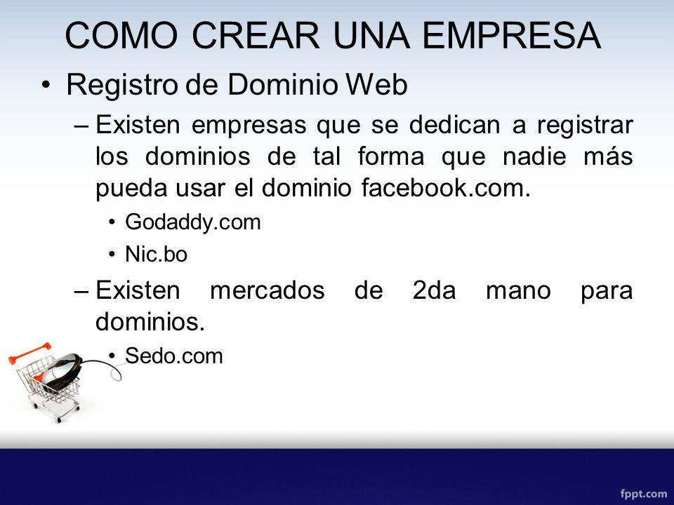 COMO CREAR UNA EMPRESA Registro de Dominio Web