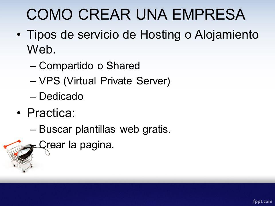 COMO CREAR UNA EMPRESA Tipos de servicio de Hosting o Alojamiento Web.