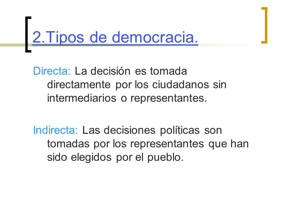 2.Tipos de democracia. Directa: La decisión es tomada directamente por los ciudadanos sin intermediarios o representantes.