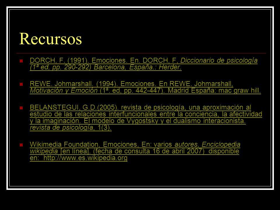 Recursos DORCH, F. (1991). Emociones. En. DORCH, F, Diccionario de psicología (1ª ed, pp. 290-292) Barcelona, España.: Herder.
