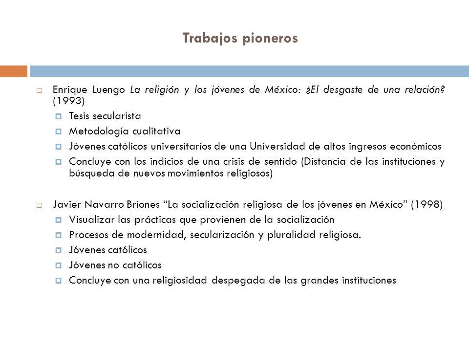 Trabajos pioneros Enrique Luengo La religión y los jóvenes de México: ¿El desgaste de una relación (1993)