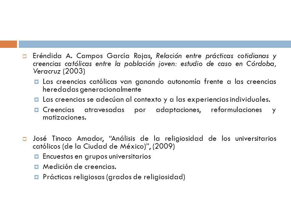 Eréndida A. Campos García Rojas, Relación entre prácticas cotidianas y creencias católicas entre la población joven: estudio de caso en Córdoba, Veracruz (2003)