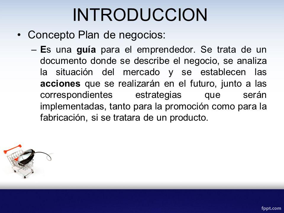 INTRODUCCION Concepto Plan de negocios: