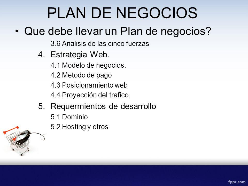 PLAN DE NEGOCIOS Que debe llevar un Plan de negocios Estrategia Web.