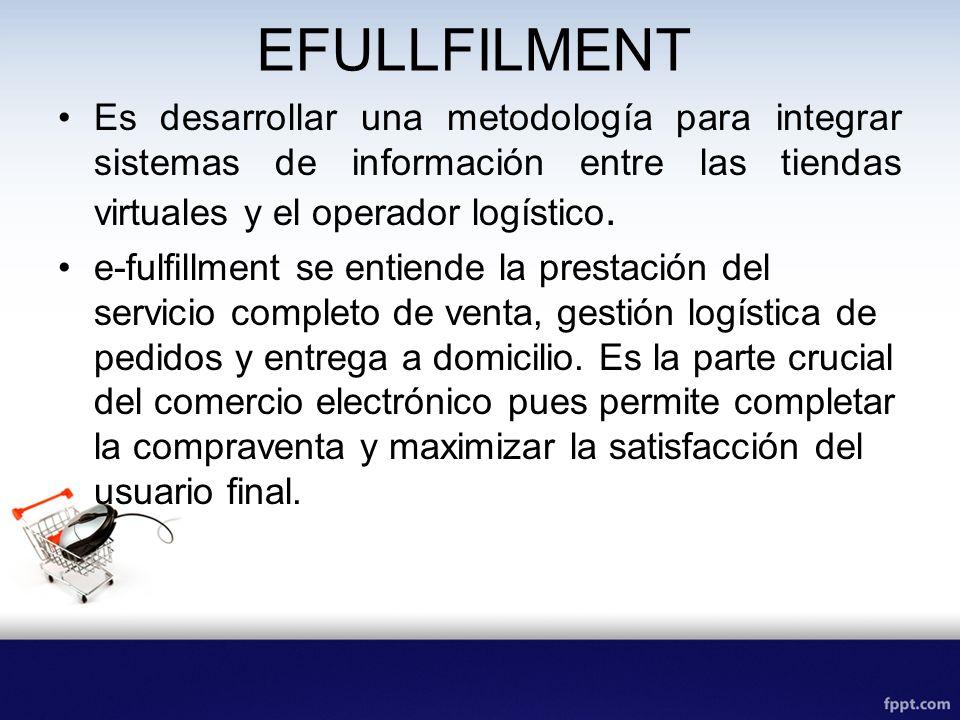 EFULLFILMENT Es desarrollar una metodología para integrar sistemas de información entre las tiendas virtuales y el operador logístico.