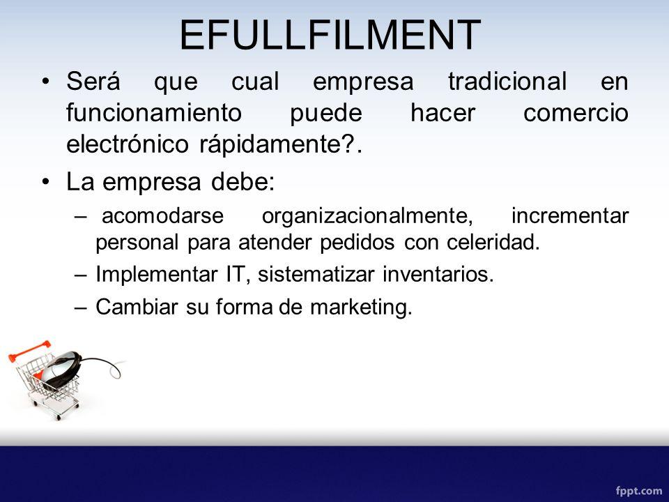 EFULLFILMENT Será que cual empresa tradicional en funcionamiento puede hacer comercio electrónico rápidamente .