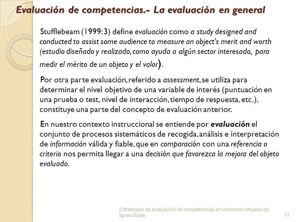 Evaluación de competencias.- La evaluación en general