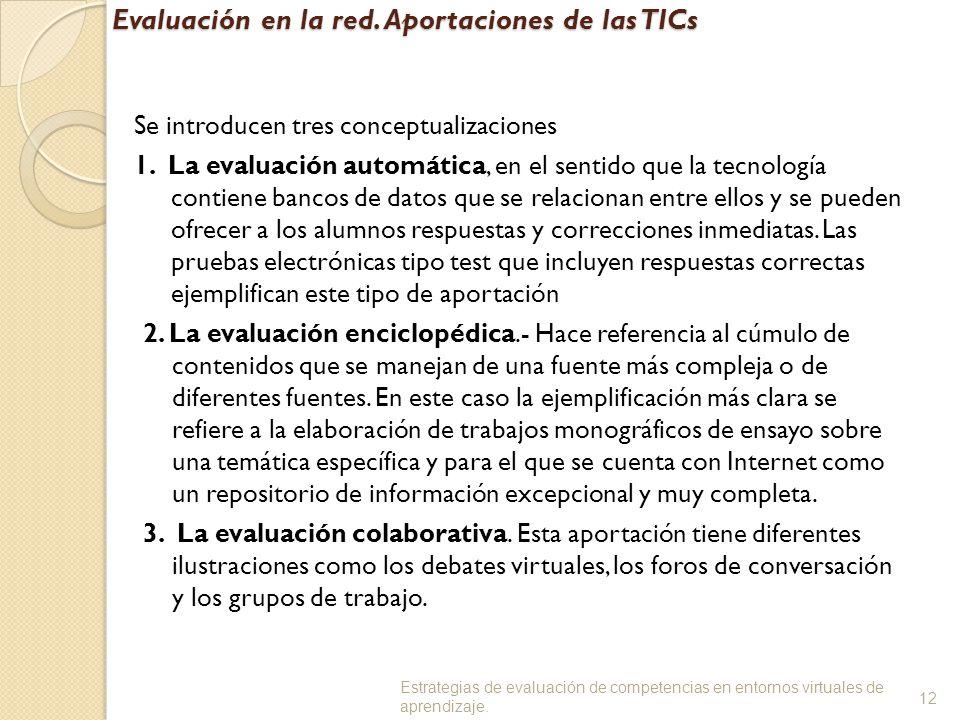 Evaluación en la red. Aportaciones de las TICs