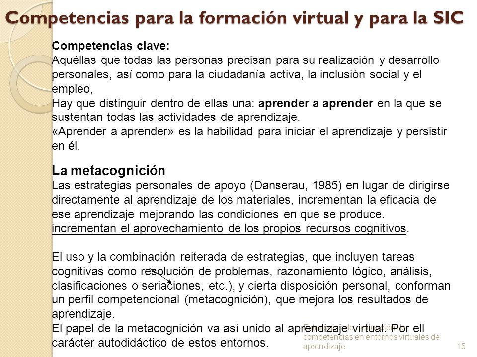 Competencias para la formación virtual y para la SIC