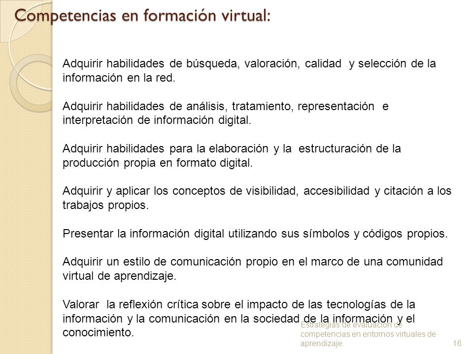 Competencias en formación virtual: