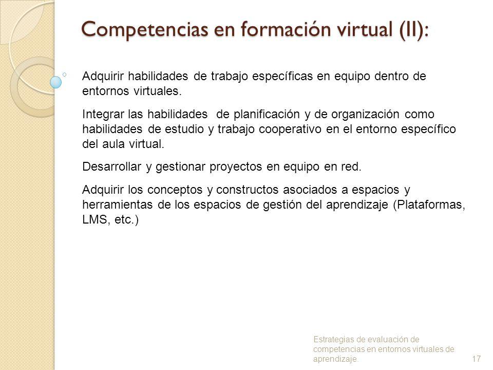 Competencias en formación virtual (II):