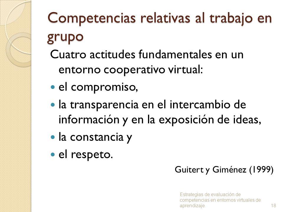 Competencias relativas al trabajo en grupo