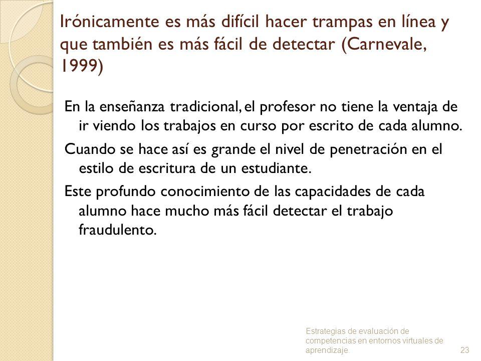 Irónicamente es más difícil hacer trampas en línea y que también es más fácil de detectar (Carnevale, 1999)