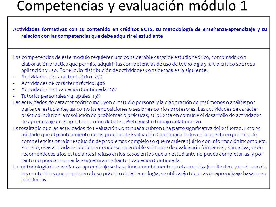 Competencias y evaluación módulo 1