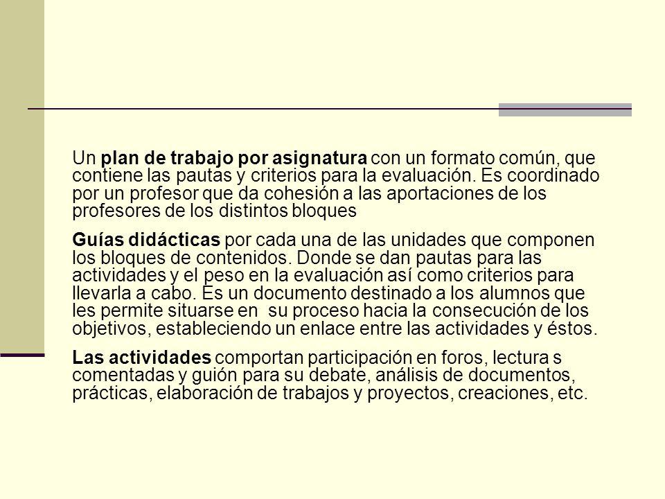 Un plan de trabajo por asignatura con un formato común, que contiene las pautas y criterios para la evaluación. Es coordinado por un profesor que da cohesión a las aportaciones de los profesores de los distintos bloques