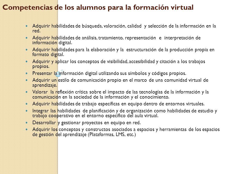 Competencias de los alumnos para la formación virtual