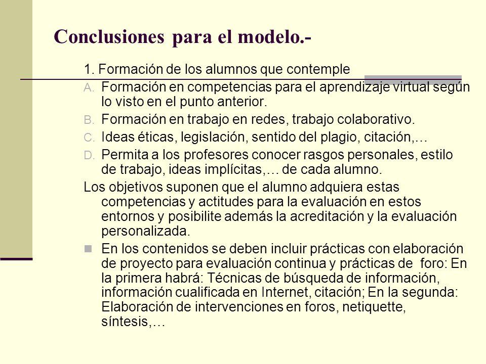Conclusiones para el modelo.-