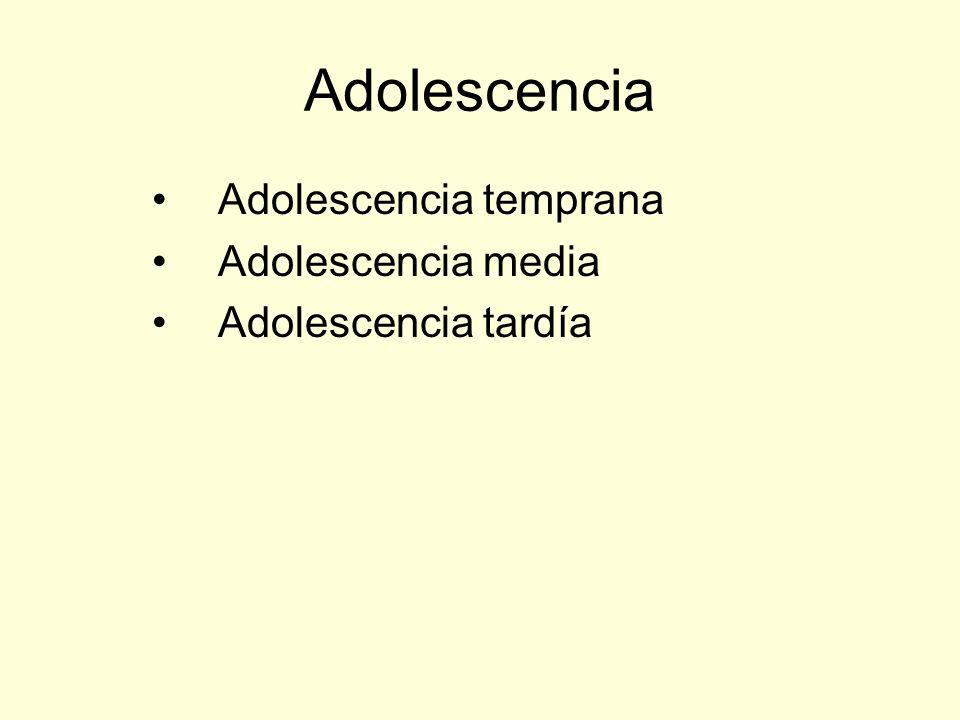 Adolescencia Adolescencia temprana Adolescencia media