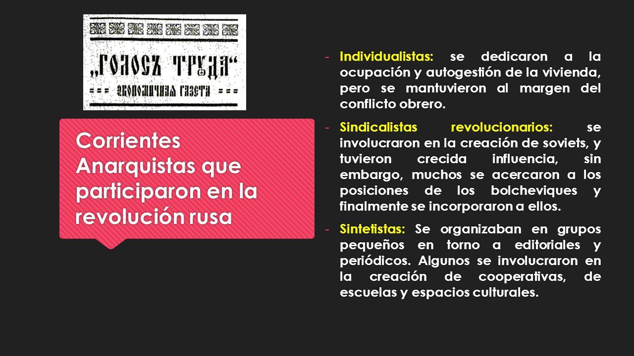 Corrientes Anarquistas que participaron en la revolución rusa