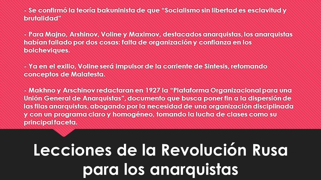 Lecciones de la Revolución Rusa para los anarquistas