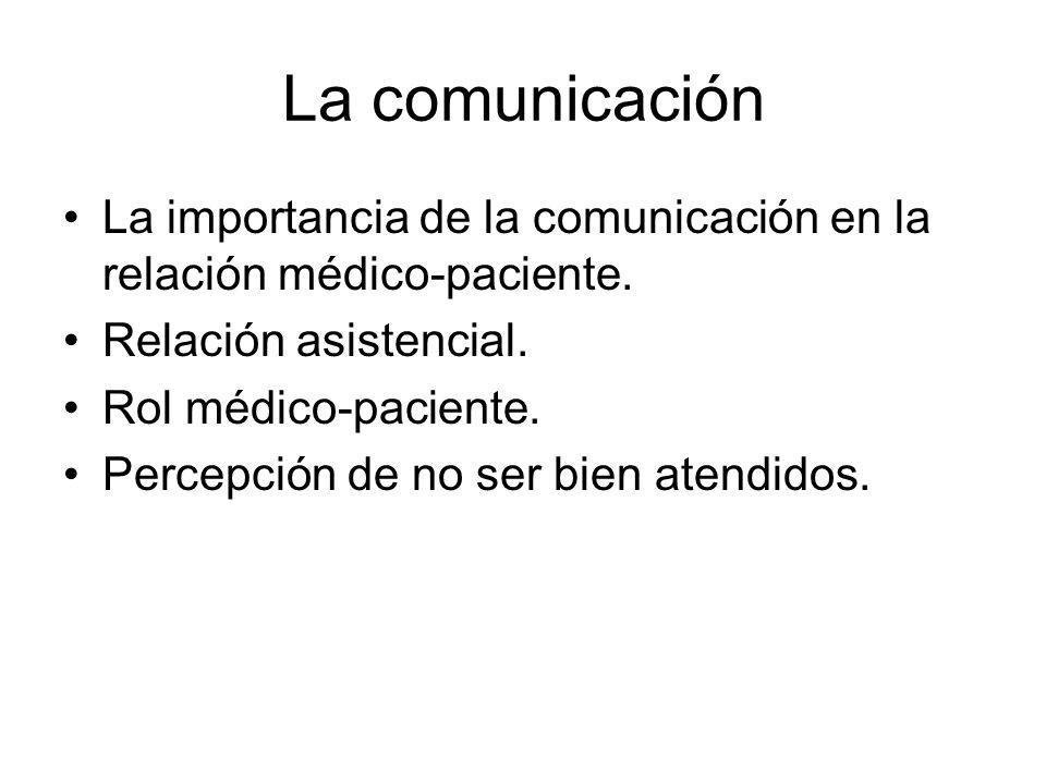 La comunicación La importancia de la comunicación en la relación médico-paciente. Relación asistencial.