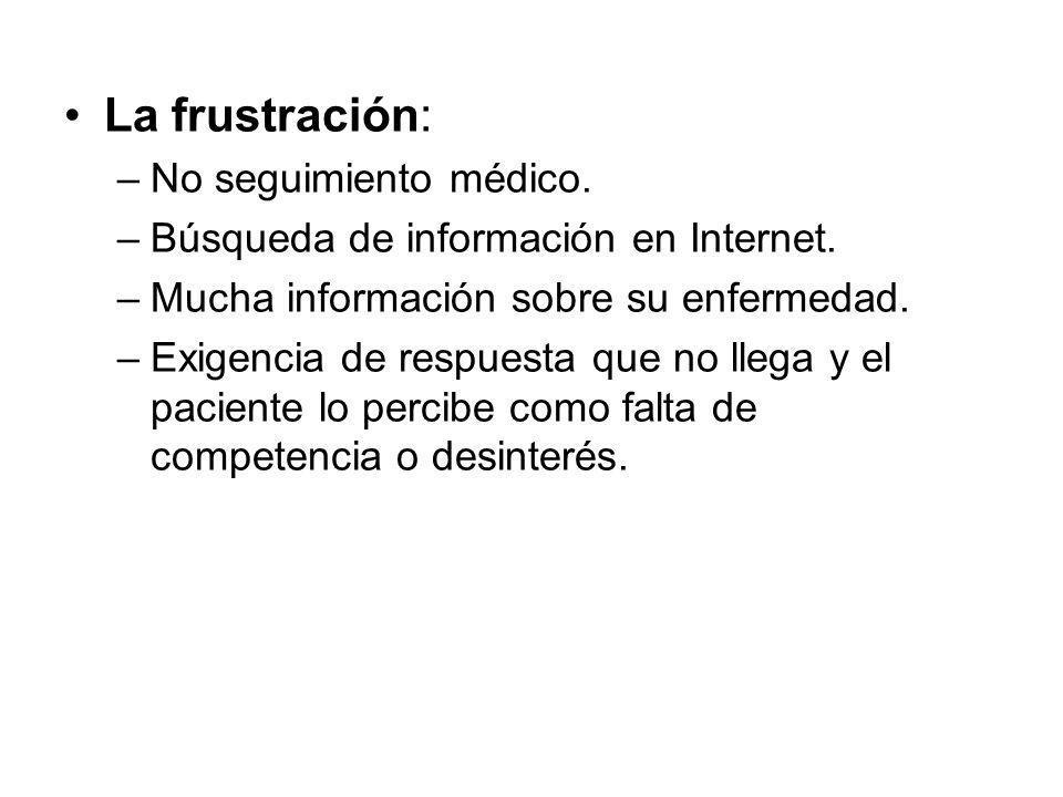 La frustración: No seguimiento médico.
