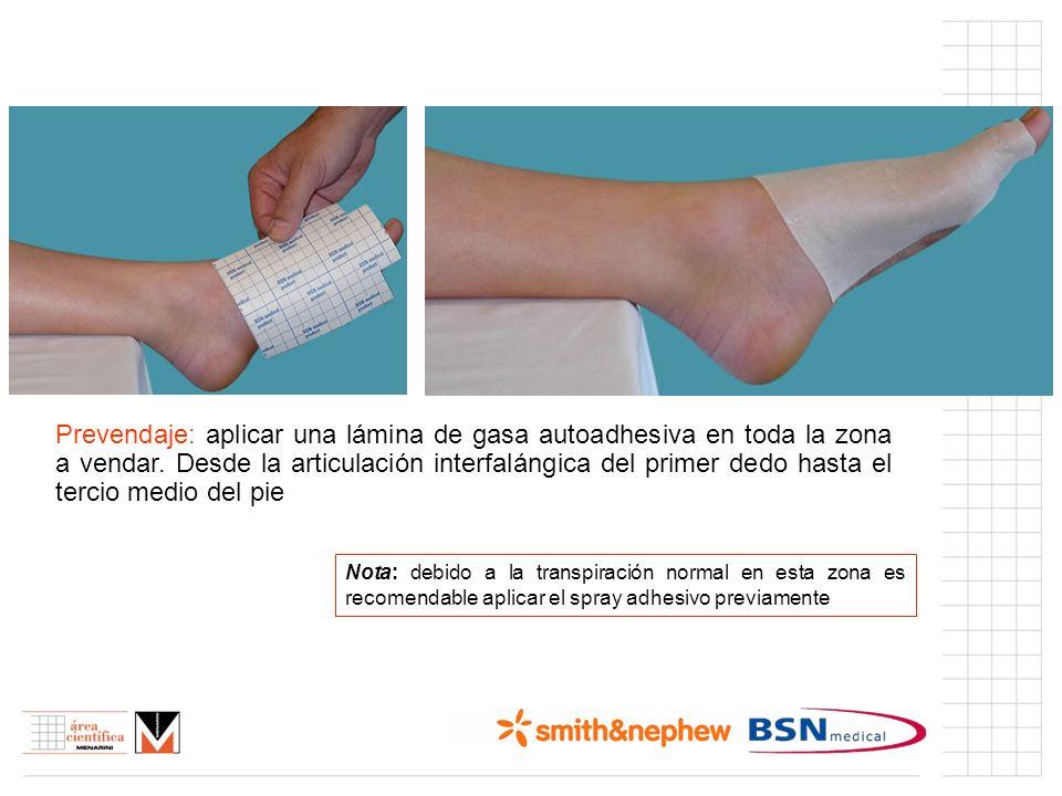 Prevendaje: aplicar una lámina de gasa autoadhesiva en toda la zona a vendar. Desde la articulación interfalángica del primer dedo hasta el tercio medio del pie