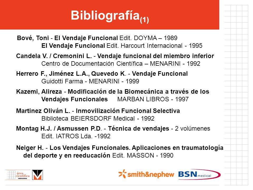 Bibliografía(1) Bové, Toni - El Vendaje Funcional Edit. DOYMA – 1989