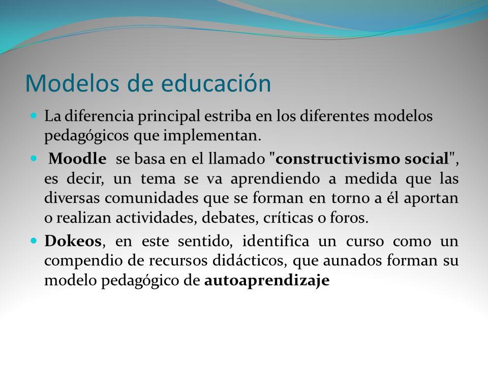 Modelos de educación La diferencia principal estriba en los diferentes modelos pedagógicos que implementan.